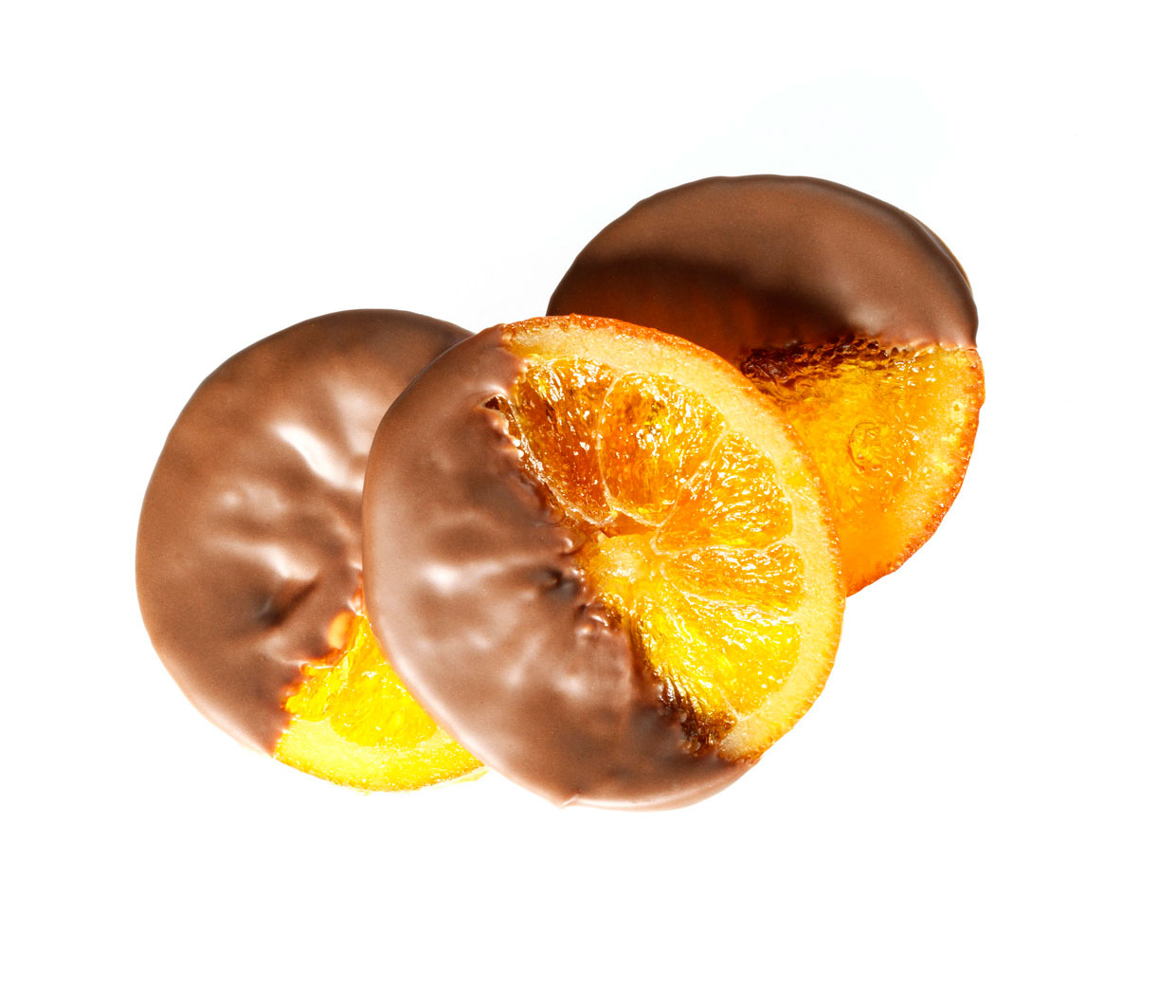 Dipped orange slices | DUVA Choc-O-Fruits - Cerisettes - Orangettes